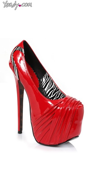 Patent Zebra Print Pump with Ruched Toe - Red