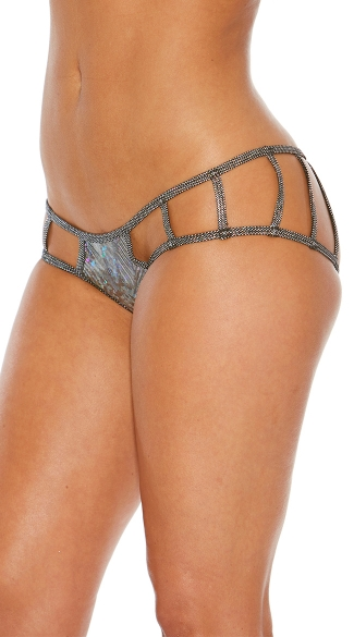Cage Boyshort Panty with Cut Outs - Black