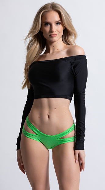 Metallic Bikini Panty with Side Cut Outs - Green