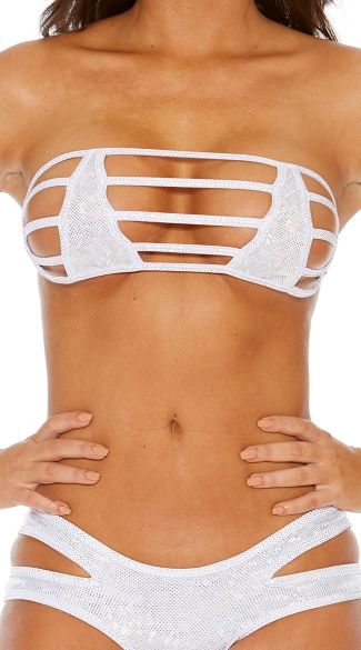 Strappy Bandeau with Nipple Covers - Silver