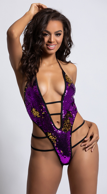 Flipped Strappy Dance Bodysuit - Purple/Gold