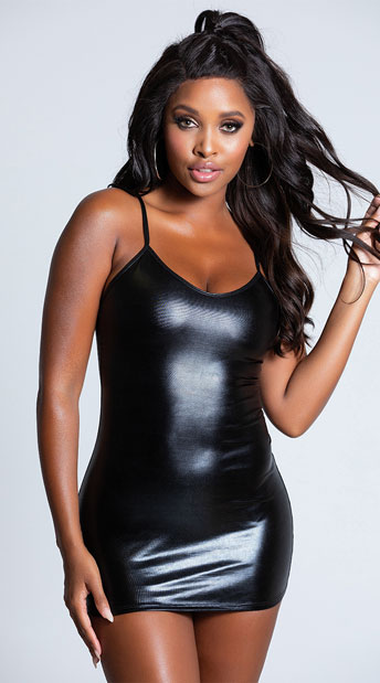Metallic Hot Stuff Mini Dress - Black