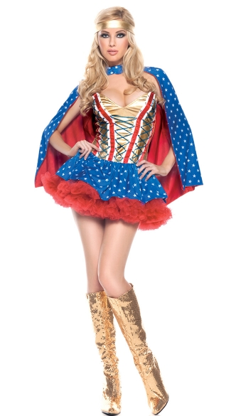 Plus Size Sexy Hero Girl Costume - Blue/Red/Gold