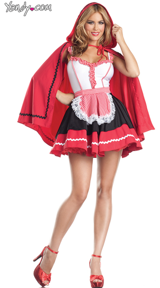 Romantic Red Riding Hood Costume - As Shown