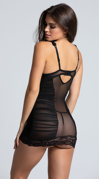 Mesh Chemise with Ruched Sides - as shown