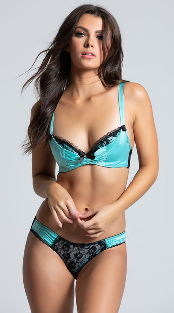 Aqua Satin Bra Set - Aqua/Black