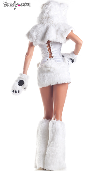 Polar Bear Babe Costume, Adult Women Polar Bear Costumes -9780