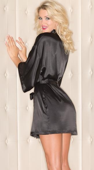 Short Sleeve Satin Robe - Black