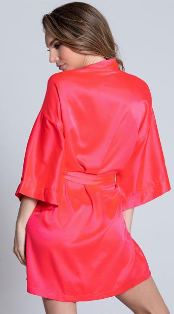 Short Sleeve Satin Robe - Hot Pink