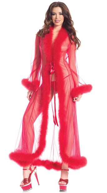 Sheer Illusion Marabou Robe - Red