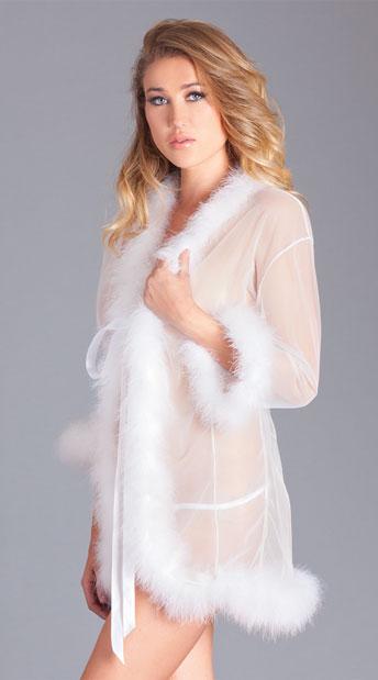 Mesmorize Me Black Marabou Robe - White