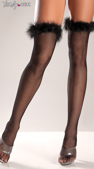 Marabou Top Fishnet Thigh Highs, Feathery Thigh Highs, Sexy Fluffy Thigh High Stockings