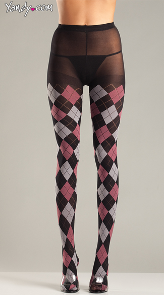 Classic Argyle Tights - Black