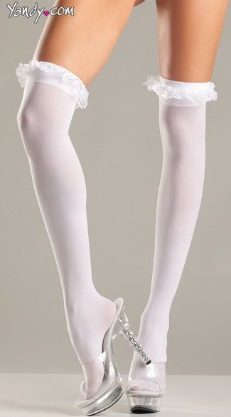 Plus Size Princess Thigh Highs, Plus Size Sexy Ruffle Top Thigh Highs, Plus Size Girly Thigh High Stockings
