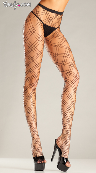 Triple Diamond Net Pantyhose - Black