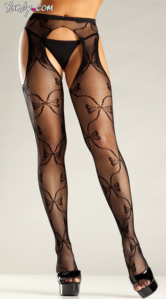 Bow Lace Suspender Pantyhose, Sexy Suspender Stockings, Pretty Bow Tights