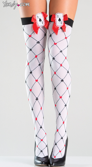 King of Hearts Thigh Highs - White/Red