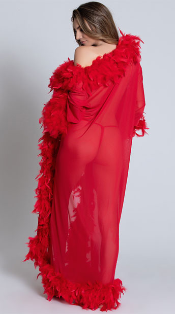Deluxe Red Feather Robe - Red