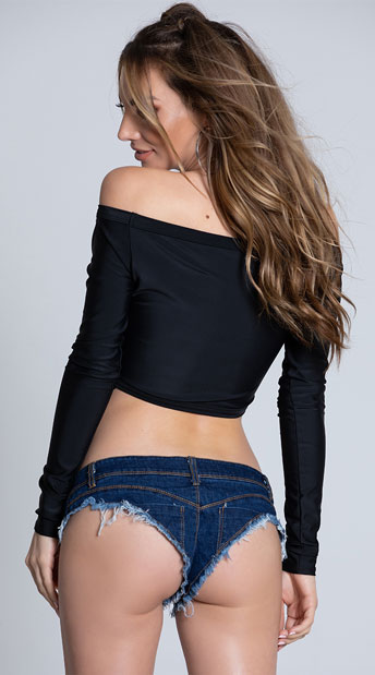 Dark Wash Denim Booty Shorts - Blue