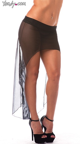High Low Mesh Skirt - Black