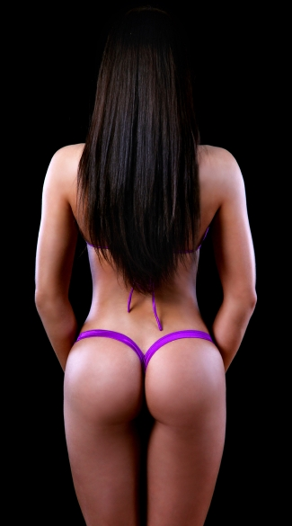 Tri Top and Heart Back Thong - as shown