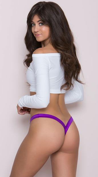 Heart Back G-String - Purple