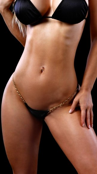 Low Back G-String with Chains, Chain Strap Thong