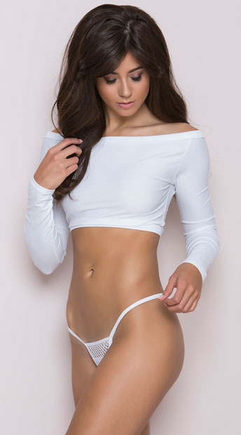 Lycra G-String with Honeycomb Front - White