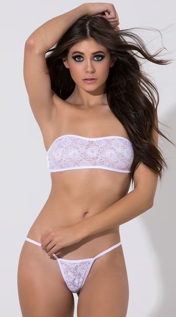 Low Back Lace G-String - White