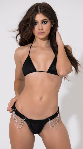 Tri Top and Micro Chain Thong - as shown