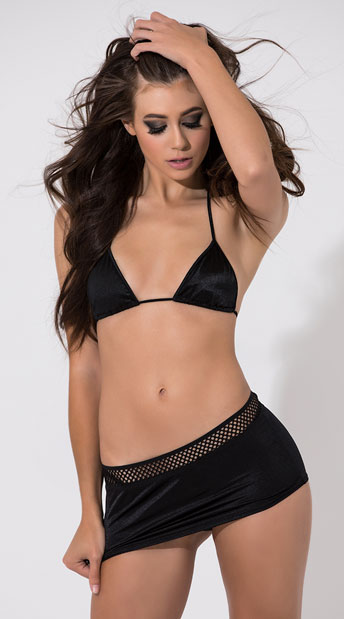 Fishnet Trim Scrunch Back Skirt - Black