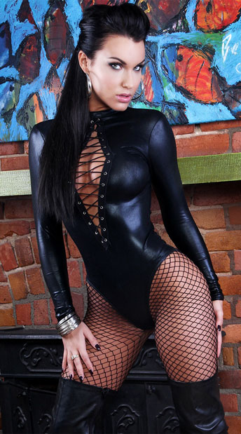 Wet Look Dominating Diva Romper, Dominatrix Romper with Laces, Long Sleeve Wet Look Romper