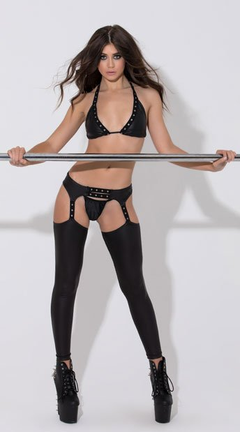 Black Slade Halter Top and Chaps Set - as shown