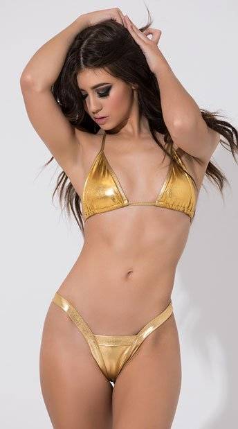 Sexy Metallic V Thong - Gold