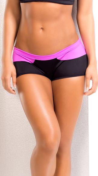 Splash Stretchy Neon Shorts - Pink/Black