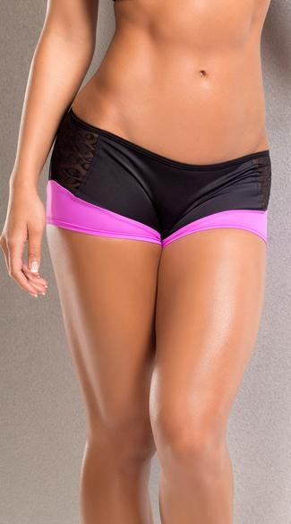 Neon Leopard Scrunch Back Shorts - Pink/Black