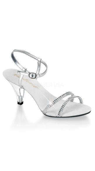 3 Inch Belle Rhinestone Ankle Strap Sandal - as shown