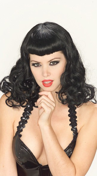 1940s Pin Up Girl Wig, Bettie Pin Up Gal Wig, Bettie Page Wig
