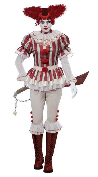 Sadistic Clown Costume - Red/Cream