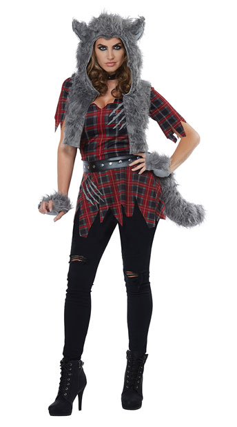 She-Wolf Costume - Red/Grey