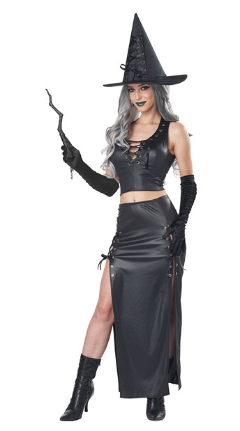 Black leather witch costume shoes