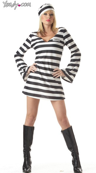 Sexy Convict Costume, Sexy Prison Girl, Jail Bird Costume, Prison Halloween Costume, Women\'s Prisoner Costume