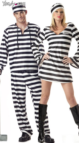 Convicted Couples Costume, Convict Couples Costume, Prisoner Couples Costume