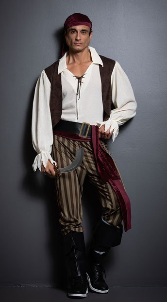Men's Rogue Pirate Costume - as shown