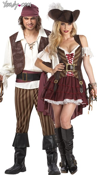 Rogue Swashbucklers Couples Costume, Rogue Pirate Couples Costume, Couples Pirate Costumes