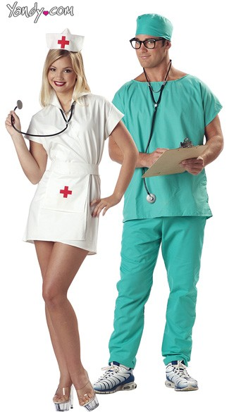Nursing Student Hotties Couples Costume - as shown
