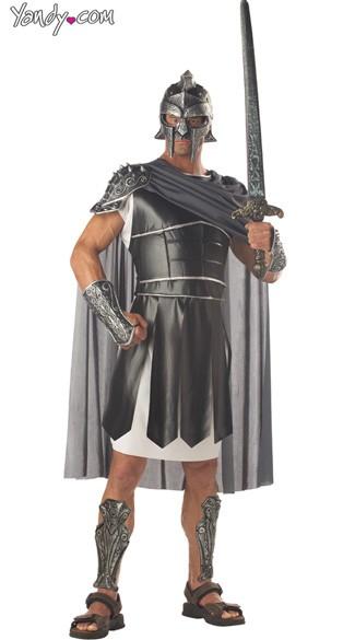 Mens Centurion Costume - Black/Silver