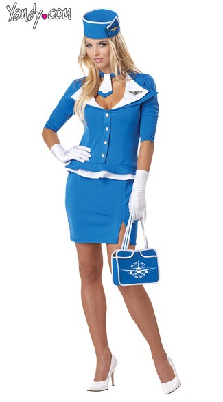 Retro Flight Attendant Costume, Stewardess Costume, Flight Attendant Uniforms