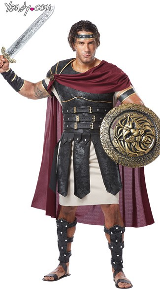 Roman Gladiator Costume - Black/Burgundy