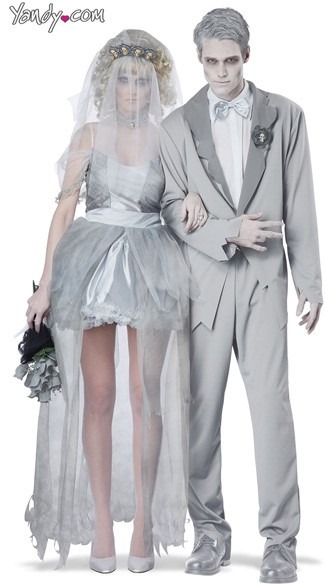 Ghostly Couples Costume, Zombie Wedding Couples Costume, White Ghost Couples Costume